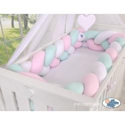 Mantinel XXL pletený do copu MAGIC LOOP - bílá + růžová + mátová