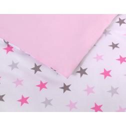 Povlečení do postýlky 2 díly FUN & JOY - hvězdy růžové