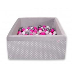 Čtvercový suchý bazén s 200 míčky (dle vlastního výběru) - puntíky na šedé + šedá