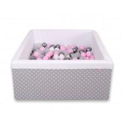 Čtvercový suchý bazén s 200 míčky (dle vlastního výběru) - puntíky na šedé + bílá