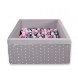 Čtvercový suchý bazén s 200 míčky (dle vlastního výběru) - hvězdy na šedé + šedá