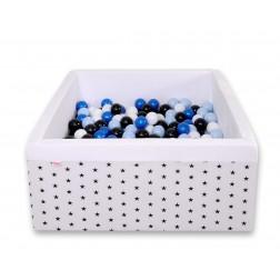 Čtvercový suchý bazén s 200 míčky (dle vlastního výběru) - černé hvězdy na bílém