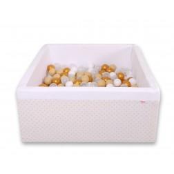 Čtvercový suchý bazén s 200 míčky (dle vlastního výběru) - zlaté hvězdy na bílém