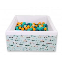 Čtvercový suchý bazén s 200 míčky (dle vlastního výběru) - zajíčci na mátovém