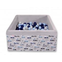 Čtvercový suchý bazén s 200 míčky (dle vlastního výběru) - zajíčci na šedém