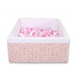 Čtvercový suchý bazén s 200 míčky (dle vlastního výběru) - růžové baletky