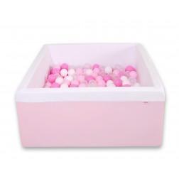 Čtvercový suchý bazén s 200 míčky (dle vlastního výběru) - růžová