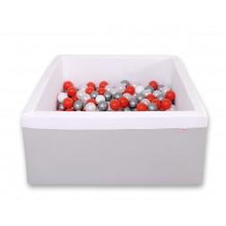 Čtvercový suchý bazén s 200 míčky (dle vlastního výběru) - šedá