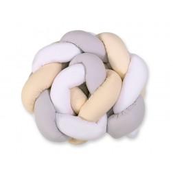 Mantinel pletený do copu MAGIC LOOP - bílá + šedá + béžová