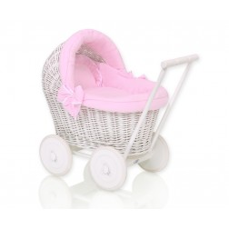 Proutěný kočárek pro panenku bílý - 71703-517