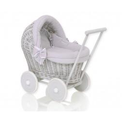 Proutěný kočárek pro panenku šedý - 61703-523