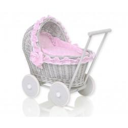 Proutěný kočárek pro panenku šedý - 61702-553