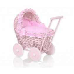 Proutěný kočárek pro panenku růžový - 81702-553
