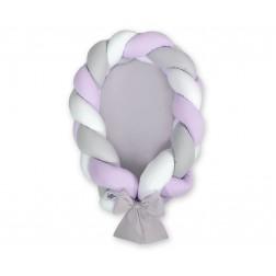 Kokon pro miminko pletený 2v1 MAGIC LOOP - bílá + šedá + fialová / šedá