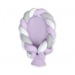 Kokon pro miminko pletený 2v1 MAGIC LOOP - bílá + šedá + fialová / fialová
