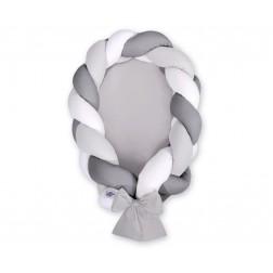 Kokon pro miminko pletený 2v1 MAGIC LOOP - bílá + šedá + antracitová / šedá