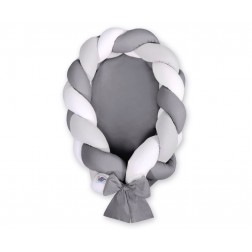 Kokon pro miminko pletený 2v1 MAGIC LOOP - bílá + šedá + antracitová / antracitová