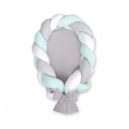 Kokon pro miminko pletený 2v1 MAGIC LOOP - bílá + šedá + mátová / šedá