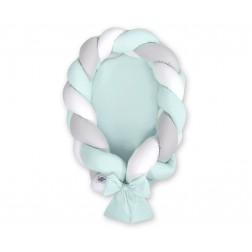 Kokon pro miminko pletený 2v1 MAGIC LOOP - bílá + šedá + mátová / mátová