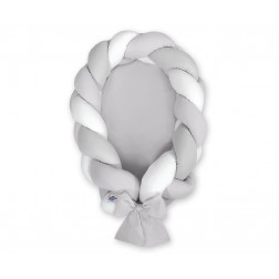 Kokon pro miminko pletený 2v1 MAGIC LOOP - bílá + šedá / šedá