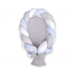 Kokon pro miminko pletený 2v1 MAGIC LOOP - bílá + šedá + modrá / šedá