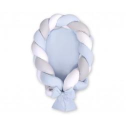 Kokon pro miminko pletený 2v1 MAGIC LOOP - bílá + šedá + modrá / modrá