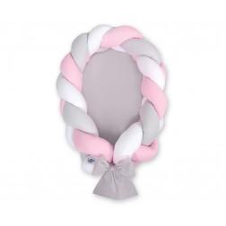 Kokon pro miminko pletený 2v1 MAGIC LOOP - bílá + šedá + růžová / šedá