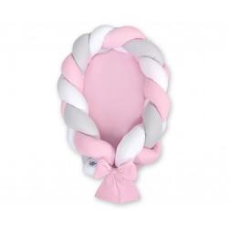 Kokon pro miminko pletený 2v1 MAGIC LOOP - bílá + šedá + růžová / růžová