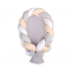 Kokon pro miminko pletený 2v1 MAGIC LOOP - bílá + šedá + béžová / šedá