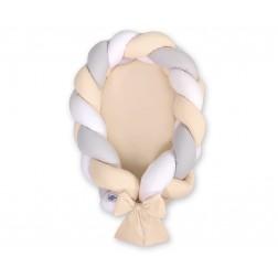 Kokon pro miminko pletený 2v1 MAGIC LOOP - bílá + šedá + béžová / béžová