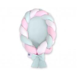 Kokon pro miminko pletený 2v1 MAGIC LOOP - bílá + růžová + mátová / mátová