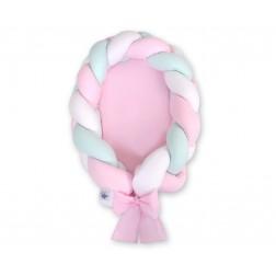 Kokon pro miminko pletený 2v1 MAGIC LOOP - bílá + růžová + mátová / růžová