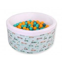 Kruhový suchý bazén s 200 míčky (béžové + oranžové + tyrkysové + tm. tyrkysové) - zajíčci na mátovém