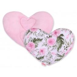 Polštářek do autosedačky srdce FUN & JOY - peonie růžová