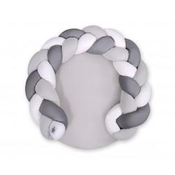 Deka na hraní / mantinel do postýlky MAGIC LOOP - 2v1 - bílá + šedá + antracit / šedá