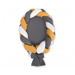 Kokon pro miminko pletený 2v1 MAGIC LOOP - bílá + antracitová + hořčicová / antracitová
