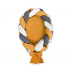 Kokon pro miminko pletený 2v1 MAGIC LOOP - bílá + antracitová + hořčicová / hořčicová