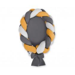 Kokon pro miminko pletený 2v1 MAGIC LOOP - šedá + antracitová + hořčicová / antracitová