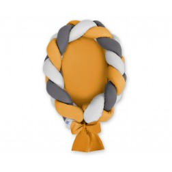 Kokon pro miminko pletený 2v1 MAGIC LOOP - šedá + antracitová + hořčicová / hořčicová