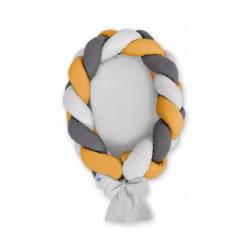 Kokon pro miminko pletený 2v1 MAGIC LOOP - šedá + antracitová + hořčicová / šedá