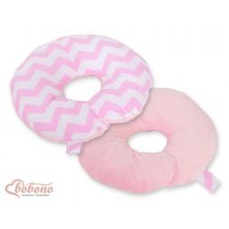 Cestovní polštářek oboustranný pro miminko - CIKCAK růžový + růžový plyš