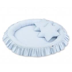 Hnízdo s volánem a polštářky - modré