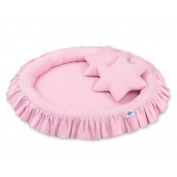 Hnízdo s volánem a polštářky - růžové