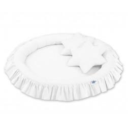 Hnízdo s volánem a polštářky - bílé