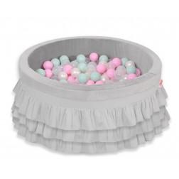 Kruhový suchý bazén s volánky a s 200 míčky - šedý