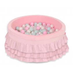 Kruhový suchý bazén s volánky a s 200 míčky - růžový