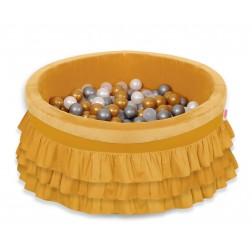Kruhový suchý bazén s volánky a s 200 míčky - hořčicový