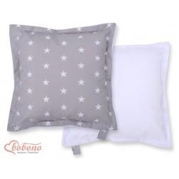 Oboustranný polštářek MINKI- hvězdy na šedém