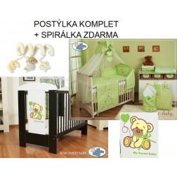 Dětská postýlka MÉĎA S MAŠLÍ komplet 322 + SPIRÁLKA ZDARMA