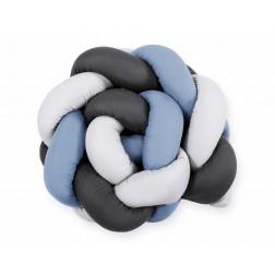 SKLADEM - Mantinel pletený do copu MAGIC LOOP - bílá + retro modrá + antracitová